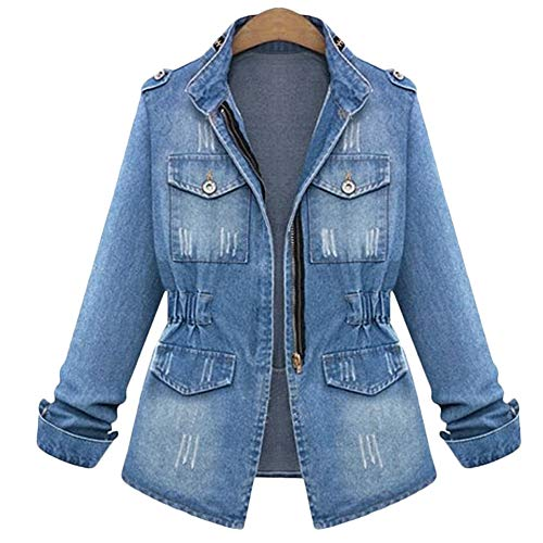 Women's Denim Jacket Casual Slim Fit Long Sleeve Loose Trucker Coat Outerwear Top Jeans Outercoat Windbreaker