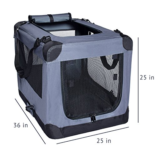 Arf Pets Dog Soft Crate 36 Inch Kennel for Pet Indoor Home & Outdoor Use - Soft Sided 3 Door Folding Travel Carrier with Straps by Arf Pets (Image #1)