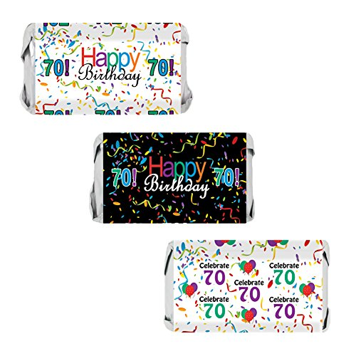 70th Birthday Party Favors - Miniatures Candy Bar Wrapper Stickers - Multi-Colored (54 (Favors For 70th Birthday)