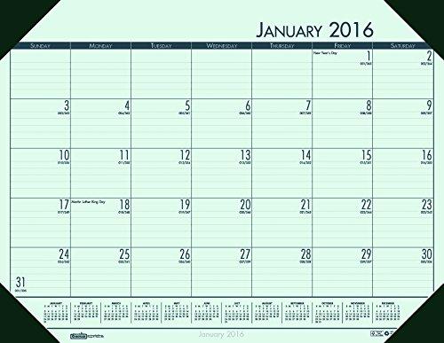 House of Doolittle 2016 Monthly Desk Pad Calendar, EcoTones, Green Paper, 22 x 17 Inches (HOD12471-16) (Desk Pad Calendar Ecotones Monthly)