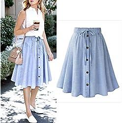 Hemlock Office Skirt Dress, Women Stretchy Waist A Line Drawstring Dress (M, Blue)
