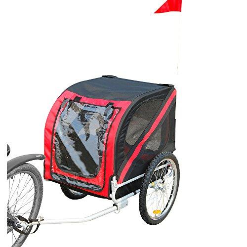 Tenive Retractable Pet Trailer- Pet Carrier w/ Suspension, Black & Red by Tenive