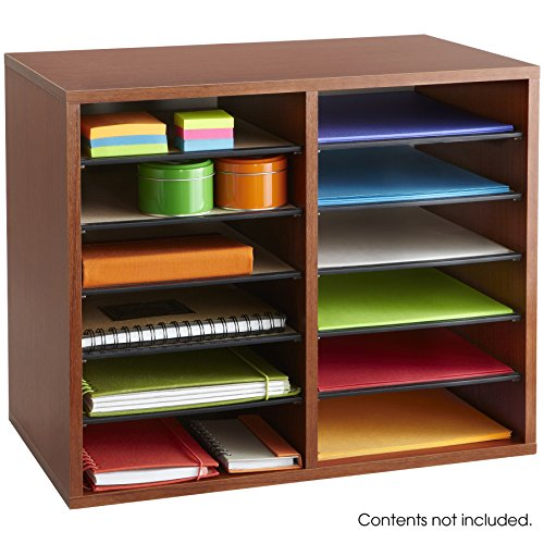 Safco Products 9420CY Wood Adjustable Literature Organizer, 12 Compartment, Cherry by Safco Products (Image #1)