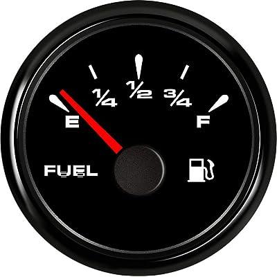 SAMDO Digital Fuel Level Gauge Universal Fuel Meter 240-33ohm Signal Adjustable 7 Color Backlight 52mm 12V/24V: Automotive