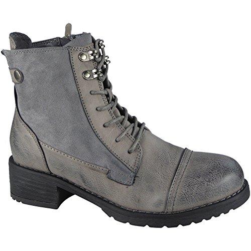 LoudLook ® Ladies Buckle Strap Zip Low Heel Army Work Biker Ankle Boots Size 3-8 Grey SICvF