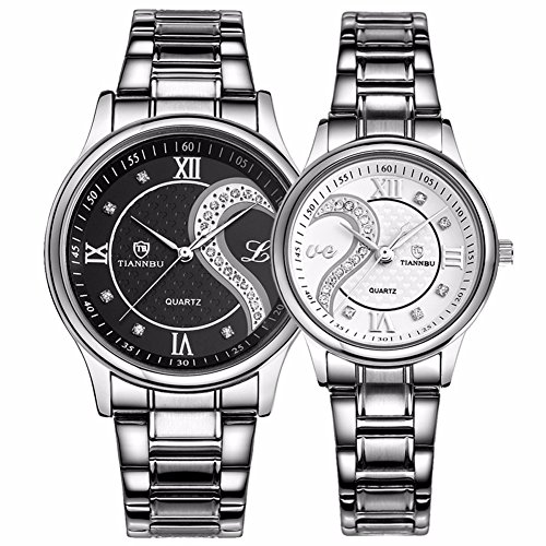 Set Stainless Steel Wrist Watch - Fq-102 Stainless Steel Romantic Pair His and Hers Wrist Watches for Men Women Black White Set of 2