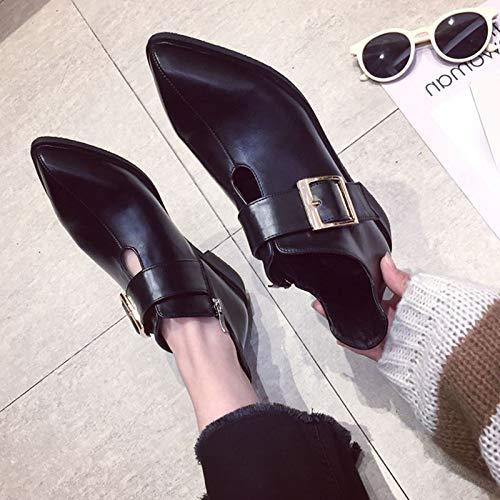 AJUNR Modische Arbeit Damenschuhe spitz flachem Absatz Kurze Kurze Kurze Stiefel high 2cm Einzelne Schuhe Ferse und Stiefeletten gürtel und Stiefel 73d1be