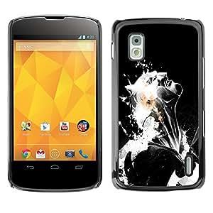 NUMO Premium slim Aliminium Casa Carcasa Funda Case Bandera Cover Armor Shell / Black & White Bat / LG Google Nexus 4