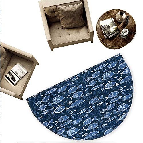 Ocean Semicircular Cushion Sealife Marine Navy Image with Tropic Fish Moss Leaves Artwork Image Entry Door Mat H 63