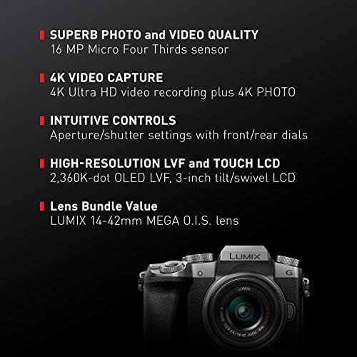Panasonic Lumix G7KS 4K Mirrorless Camera, 16 Megapixel Digital Camera, 14-42 mm Lens Kit, DMC-G7KS 51q3wEaiqGL