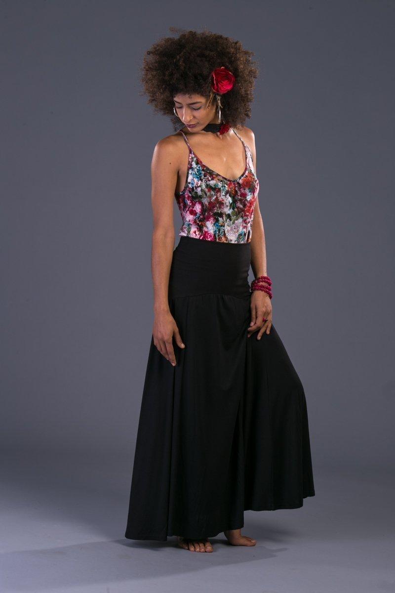 fa615fcf6e Amazon.com: Long Black Skirt, Boho Chic Festival Maxi Skirt, Handmade Bohemian  Gypsy Clothing: Handmade