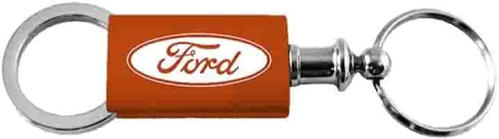 Ford Orange Logo Metal Aluminum Valet Pull Apart Key Chain Ring Fob