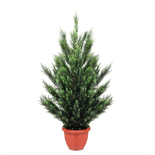Northlight 4' Potted Two-Tone Artificial Cypress (Potted Artificial Christmas Trees)