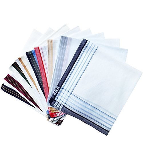 Assorted Pack of Mens White Color Border Cotton Handkerchiefs by MileyMarla