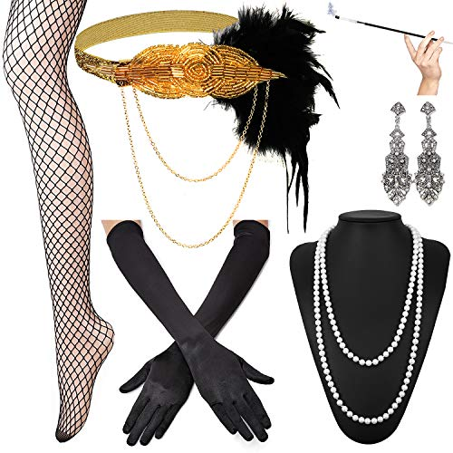 KaKaxi 1920s Accessories Set - Headband,Necklace,Gloves,Cigarette Holder and Feather -