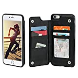 Gear Beast iPhone 8 / 7 Wallet Case, Top View Flip Folio For iPhone 8/7 Slim Protective PU Leather Case 4 Slot Card Holder Including ID Holder Plus Cash Slot For Men and Women - Black