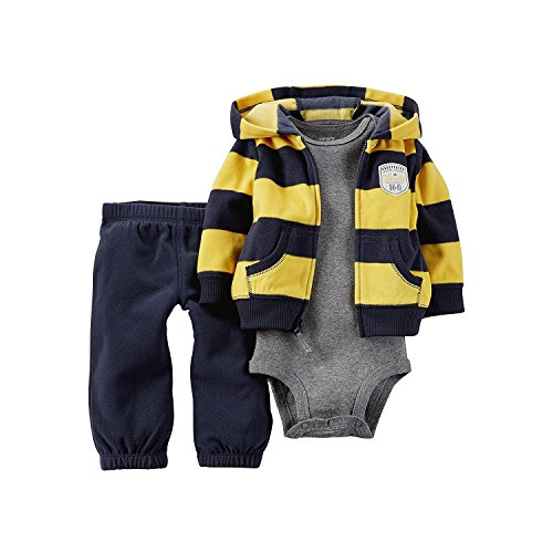 Carter's Hoodie, Bodysuit and Pants - 6 Months (Hooded Striped Rugby)