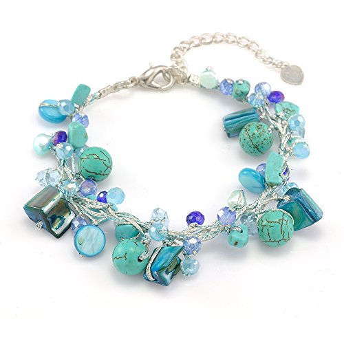 Silk Thread Aqua Blue Mother of Pearl Shell Freshwater Pearl Turquoise Handmade Bracelet 7-9