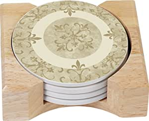 CounterArt Legacy Fleur De Lis Design Round Absorbent Coasters in Wooden Holder, Set of 4