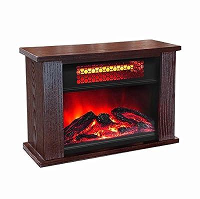 KISSEMOJI 750W Infrared Quartz Mini Wood Fireplace Space Heater Wood Stove | LS-PCFP1056