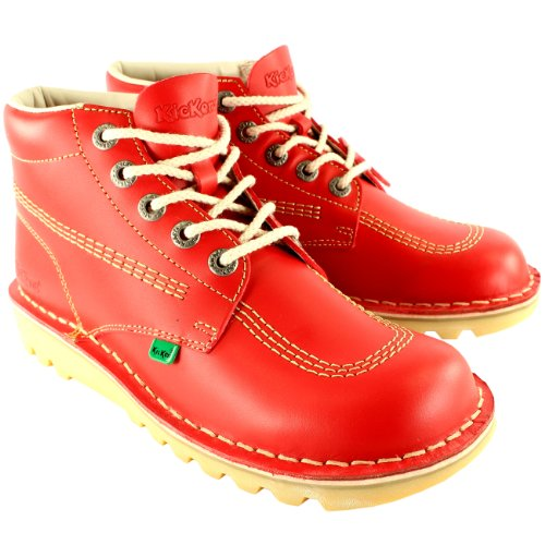 Womens Kickers Kick Hi Classic Leather Office Work Ankle Boots Shoes - Red - 5.5 - Kickers Kick Hi Boots