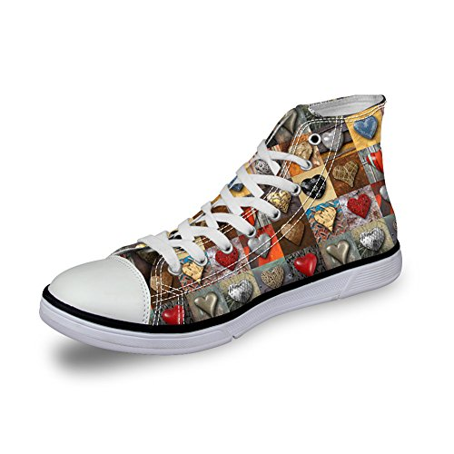 FOR U DESIGNS Breathable Women Canvas Shoes 3D Pattern Trainer Casual Fashion Sneakers Floral 7 lvCrf6ao