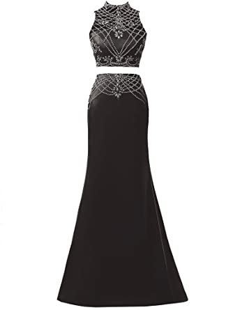 Solovedress Womens Beaded Two 2 Pieces Prom Dress Evening Gown Long Bridesmaid for Wedding Dress (