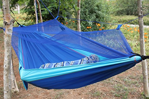 Taousa 70100 Ultra Light Double-Person Parachute Nylon Fabric Outdoor Traveller Hammock with Mosquito Insect Net + Tree Straps + Rope