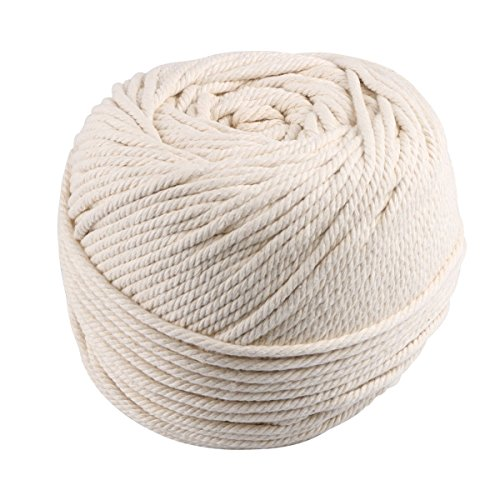 Macrame Cord 4mmX150m (About 164 yd) Natural Virgin Cotton Handmade Decorations Macrame Wall Hangings Plant Hanger Crocheting Bohemia Dream Catcher DIY Craft Knitting - Soft Undyed Natural Color Rope -
