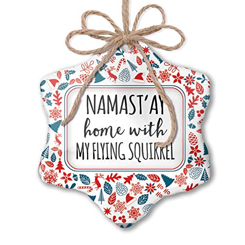Flying Red Squirrel (NEONBLOND Christmas Ornament Namast'ay Home with My Flying Squirrel Simple Sayings Red White Blue Xmas)