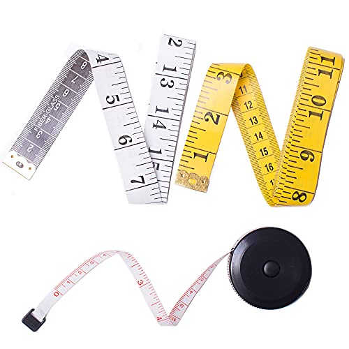 TACVEL 3 Pack Tape Measure Set, Including 2 x Soft Tapes and 1 x Retractable Double Scales Rulers for Sewing, Body, Tailor