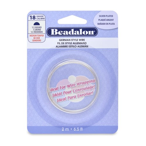 Beadalon German Style Half Round Wire, 18-Gauge, Tarnish Resistant Silver Plated