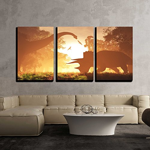wall26 - 3 Piece Canvas Wall Art - Dinosaurs in Prehistoric Jungle in the Sunset Sunrise 3d Artwork - Modern Home Decor Stretched and Framed Ready to Hang - 24
