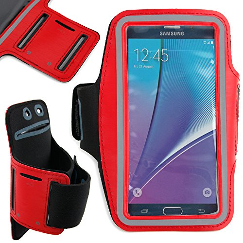 DURAGADGET Premium Quality Unisex Sports Armband in Red - Compatible NEW Samsung Galaxy Note5 (Android OS v.5.1.1 Lollipop, 5.7'' Touchscreen, Quad-Core 1.5 Ghz) by DURAGADGET
