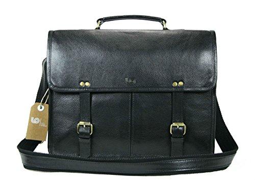 Leftover Studio Double Pocket Messenger Bag/Satchel / Briefcase/Shoulder Bag in Black Top Grain Cow Leather by Leftover Studio