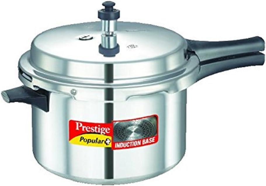 Prestige Popular Plus Induction Base Aluminum Pressure Cooker, 5.5-Liter, Silver