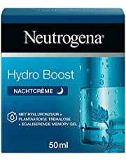 Neutrogena Hydro Boost Nachtcrème, intensief hydraterende en herstellend masker, met hyaluronzuur, 100% plantaardige trehalose en egaliserende memory gel, voor alle huidtypen en olievrij, 1 x 50 ml
