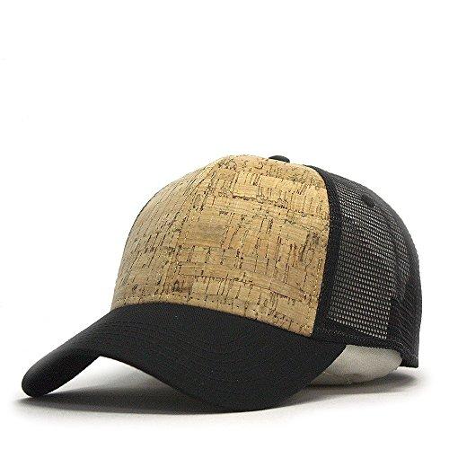 Vintage Year Plain Two Tone Cotton Twill Mesh Adjustable Trucker Baseball Cap (Black/Cork/Black)
