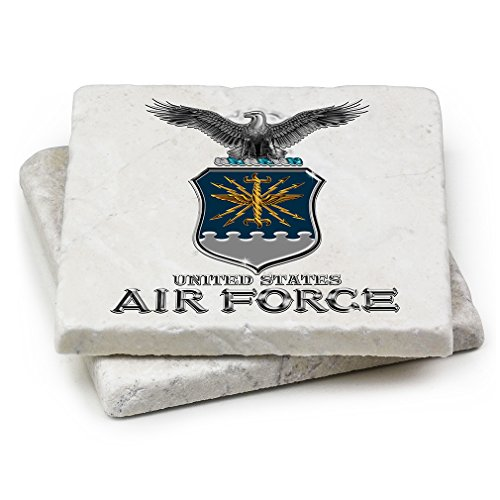 Natural Stone Coasters - United States Air Force Gifts for Men or Women - USAF Beverage & Beer Coasters - Air Force USAF Missile Box Set (Set of 2)