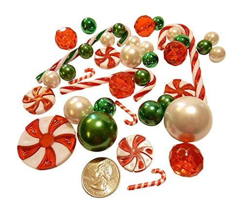 FLOATING Christmas Holiday Candy Land: Green, Red & White Pearls, Candy Canes and Gems -Jumbo/Assorted Sizes Vase Fillers for Centerpiece Decorations + Includes Transparent Water Gels