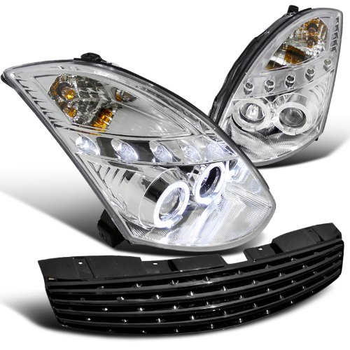 Spec-D Tuning LHP-G35032-TM Infiniti G35 Dual Halo Led 2Dr Coupe Chrome Projector Headlights