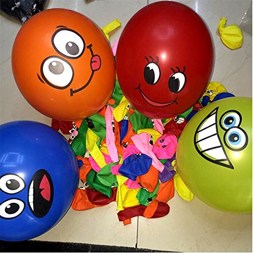 12 inch big eyes smiling face balloon 50pcs /lot thick balloon big eyes smile printing BALLOON Birthday wedding decoration