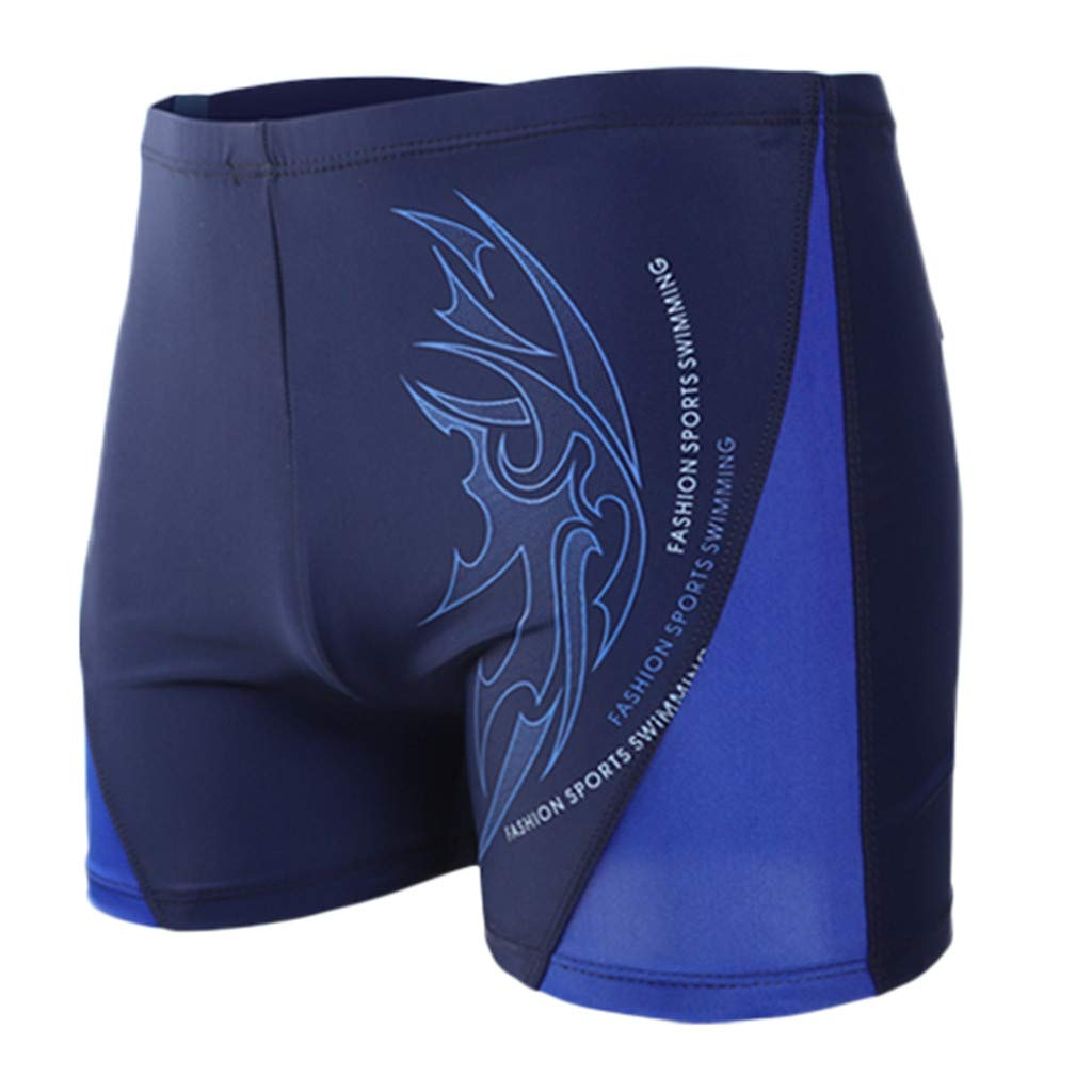 XQXCL Boxer Brief Swimming Trunks for Men Printing Sports Tight Flat Angle Shorts Dark Blue