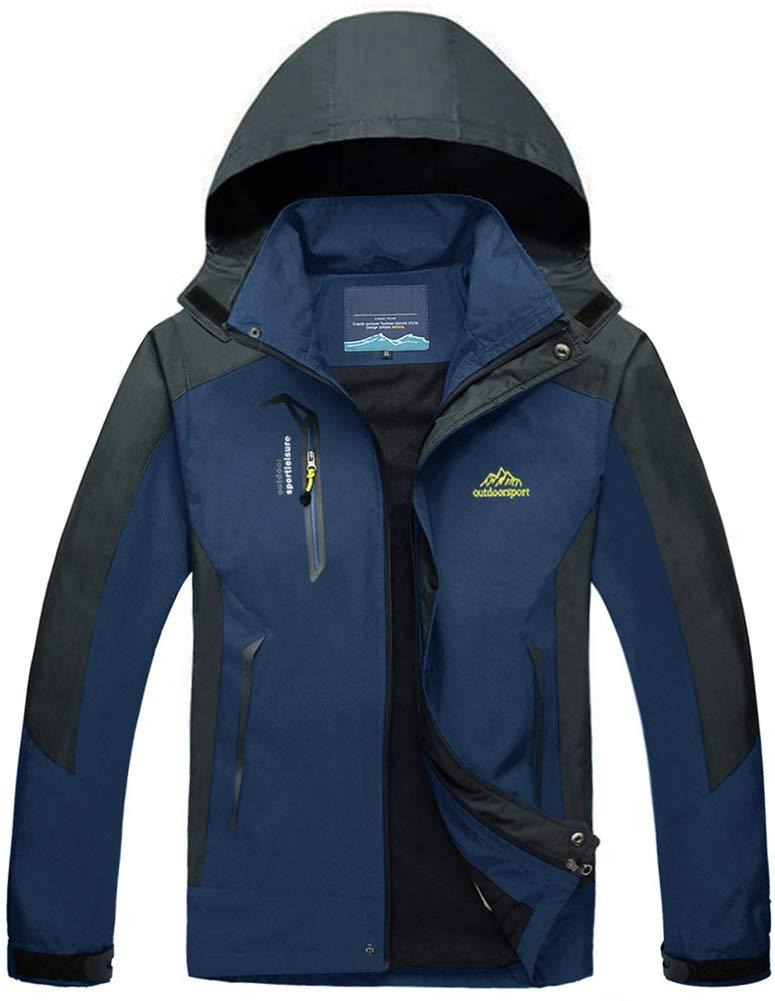 TACVASEN Herren Leichte Wasserdichte Softshell Jacke mit Abnehmbarer Kapuze