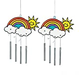 Rainbow Stained Glass Suncatcher Windchimes for Children to Paint Hang and Display (Pack of 12)