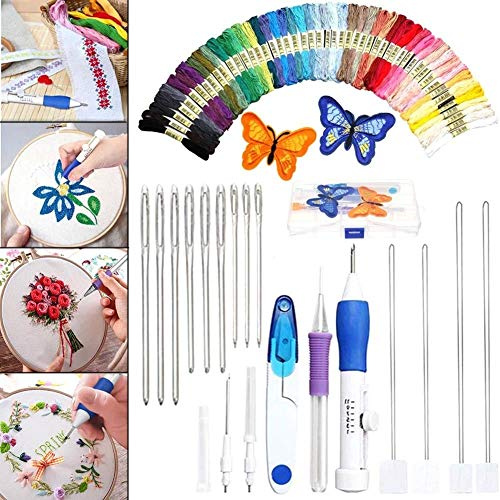 Trendy Embroidery Pen Knitting Sewing Tool Kit Punch Needle Set + 50 Threads Set by Agordo