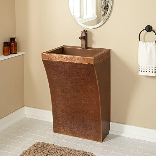 Signature Hardware 913913 20 Copper Pedestal Bathroom Sink with Single Faucet H