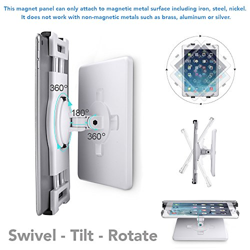 AboveTEK Universal Magnetic Tablet Mount, Swivel iPad Stand, 360° Rotating Clamp Holder Fits 6-13'' Display Tablets, Strong Attach to Metal Surface on Cabinet Whiteboard Kitchen Fridge Steel Car Door by AboveTEK (Image #3)