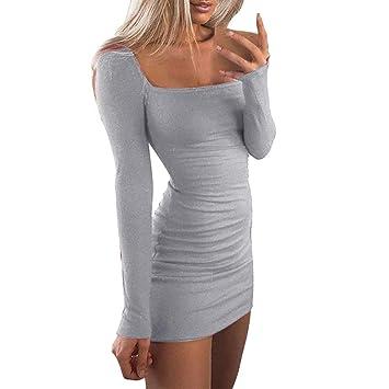 Vestidos de Fiesta Mujer,Modaworld Mini Vestido de Manga Larga Camisola para Mujer