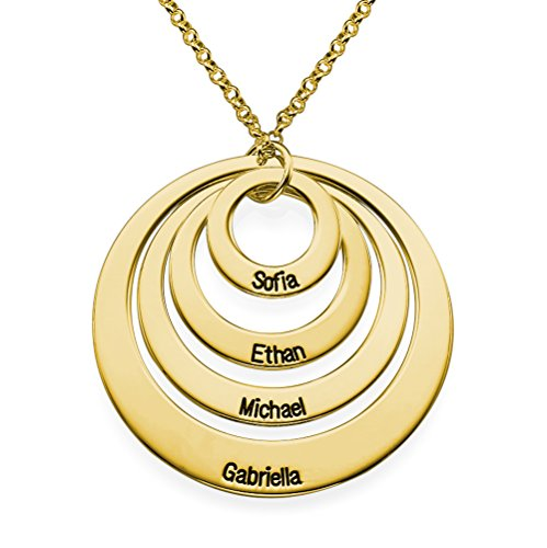 Personalized Four Circle Engraving with Any Names - Gold Plated Necklace Gift for Her Any Four